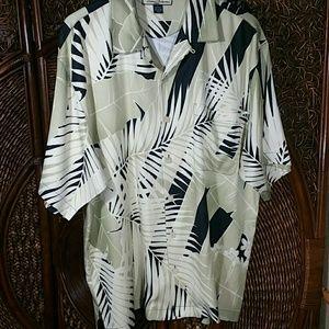 Tommy Bahama Relax szL mens silk shirt palm leaves